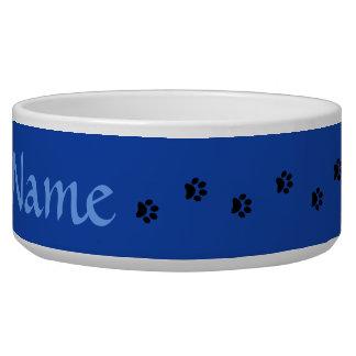 Blue Paw Print Personalised Pet Bowl