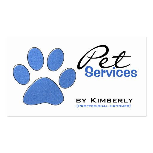 Blue Paw Print Pet Grooming Business Cards