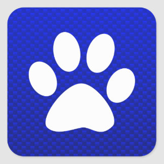 Blue Paw Print Square Sticker