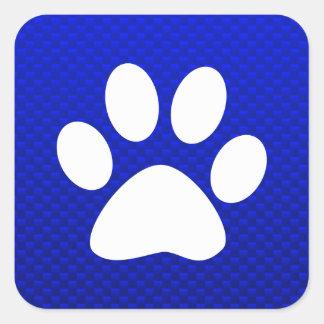 Blue Paw Print Square Sticker