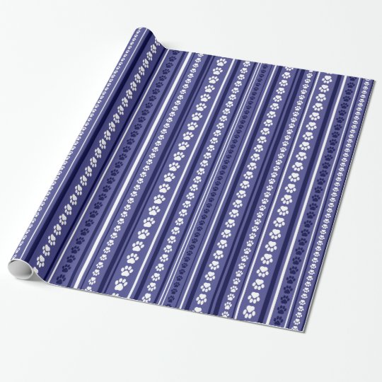 Blue Paw Print Stripe Wrapping Paper