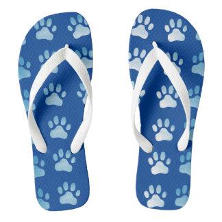Blue Paw Prints Flip Flops - Cat Dog Theme
