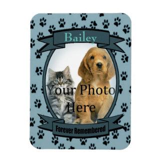 Blue Paw Prints Memorial for Cat or Dog Rectangular Photo Magnet