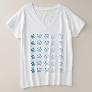 Blue Paw Prints Plus Size V-Neck T-Shirt