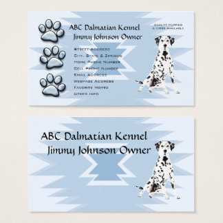 Blue Pawprint Blue Indian for Dalmatian Owners Business Card