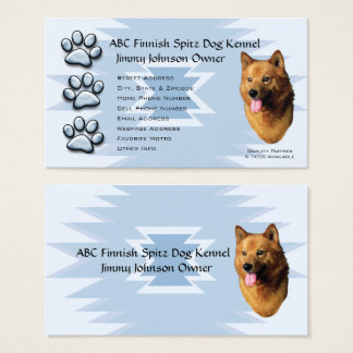 Blue Pawprint Indian Design, Finnish Spitz Owners Business Card