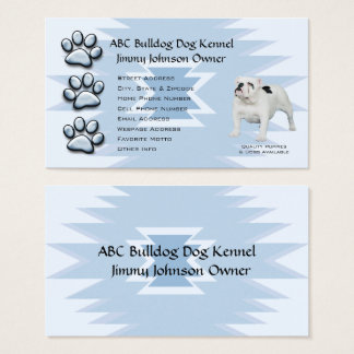 Blue Pawprint Indian design for Bulldog Owners Business Card