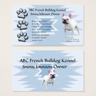 Blue Pawprint Indian for French Bulldog Owners Business Card
