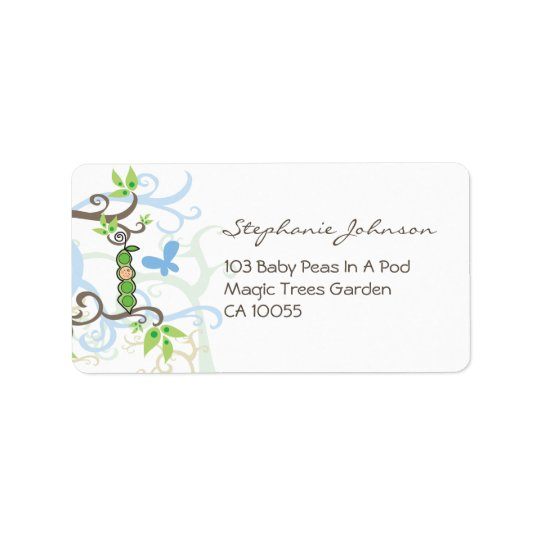 Blue Pea In A Pod Boy Baby Shower Address Labels