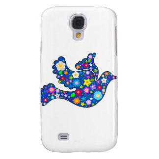 Blue Peace Dove made of decorative flowers Galaxy S4 Case