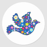 Blue Peace Dove made of decorative flowers Round Sticker