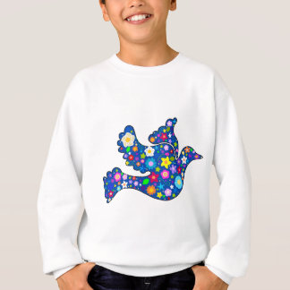 Blue Peace Dove made of decorative flowers Sweatshirt
