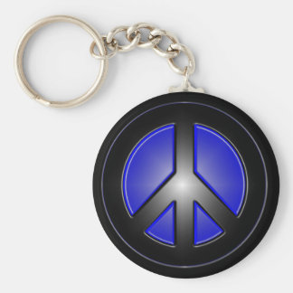 blue peace sign basic round button key ring