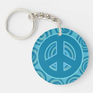 Blue Peace Sign Design Single-Sided Round Acrylic Key Ring