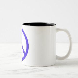 Blue Peace Sign Two-Tone Mug