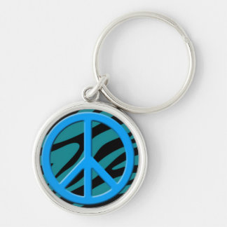 Blue Peace Sign on Colorful Animal Pattern Silver-Colored Round Key Ring