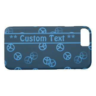Blue Peace Sign Pattern w/ Custom Text iPhone 8/7 Case