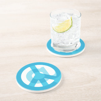 Blue @Peace Sign Social Media At Symbol Peace Sign Coaster