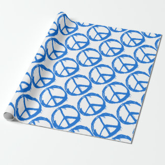 Blue Peace Sign Symbol Wrapping Paper