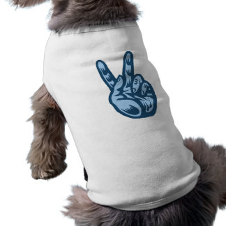 Blue - Peace V-Sign Doggie T Shirt