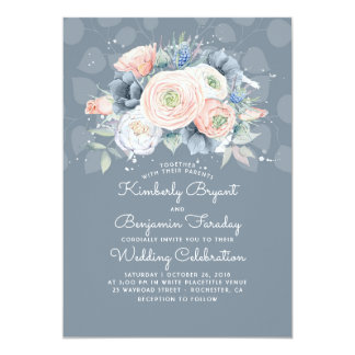 Blue Peach and Pink Floral Elegant Wedding Card