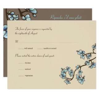 Blue Peach Blossoms Sakura Asian Wedding RSVP Card