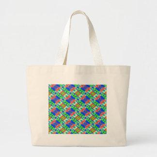 Blue Peach Lime Plaid Design Jumbo Tote Bag
