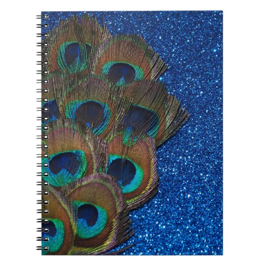 Blue Peacock Bouquet Glittery Still Life Notebooks