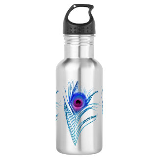 Blue Peacock Feather Pink Purple Stainless Steel 532 Ml Water Bottle