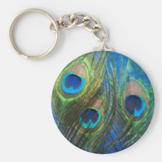 Blue Peacock Feathers Basic Round Button Key Ring