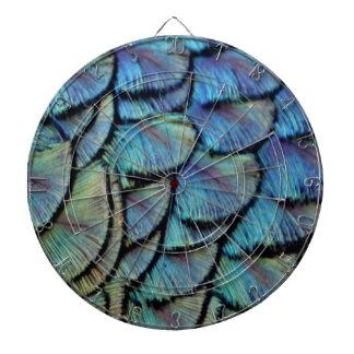 Blue Peacock Feathers Dartboard