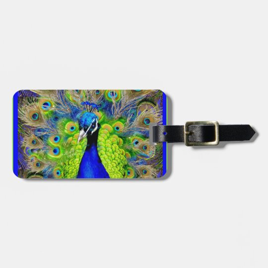 Blue  Peacock Feathers Design Bag Tag