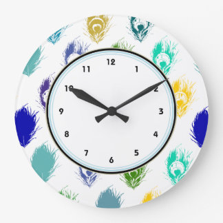 Blue Peacock feathers print art Large Clock