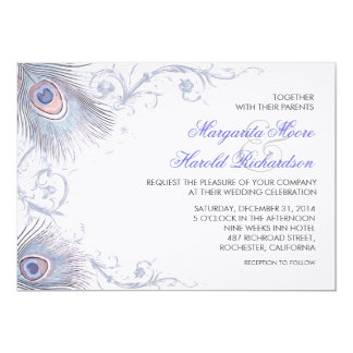 blue peacock feathers vintage wedding invitations