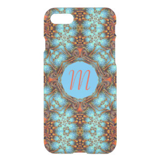 Blue Peacock Fractal Monogram iPhone 7 Clear Case