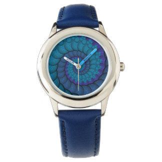 Blue Peacock Fractal Pattern Watch