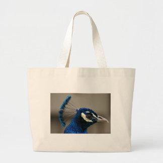 Blue Peacock Jumbo Tote Bag
