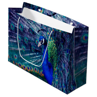 Blue Peacock Large Gift Bag
