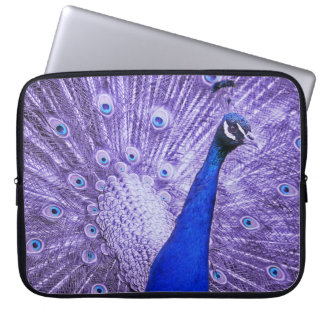 Blue Peacock, Purple Feathers Laptop Sleeve