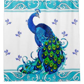 Blue Peacock Swirl Shower Curtain