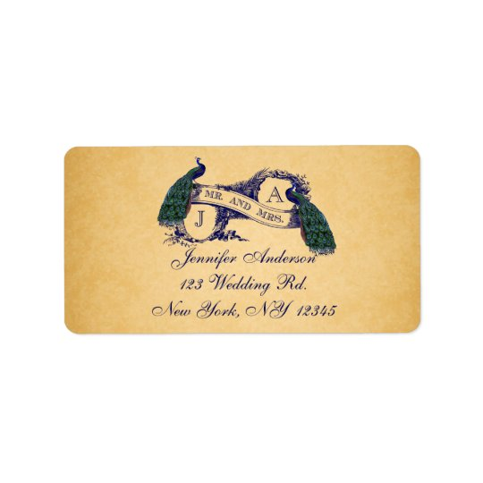 Blue Peacock Vintage Paper Wedding RSVP Address Label