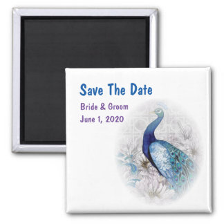Blue Peacock Watercolor Save The Date Square Magnet