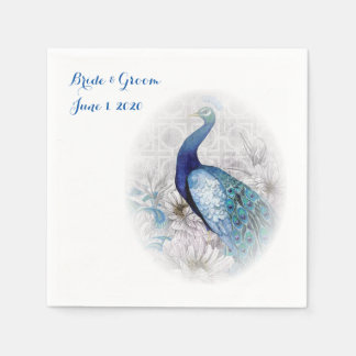 Blue Peacock Watercolor Wedding Napkins Standard Cocktail Napkin