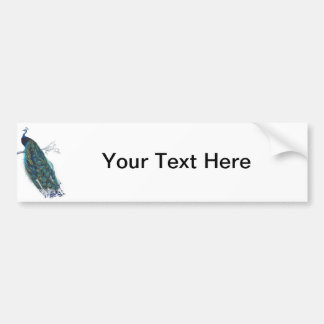 Blue Peacock with beautiful tail feathers Bumper Sticker