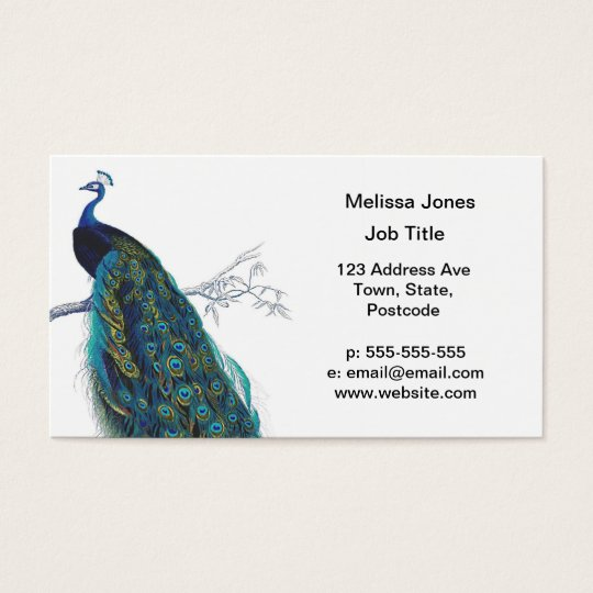 Blue Peacock with beautiful tail feathers Business Card
