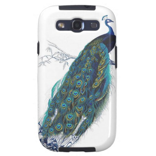 Blue Peacock with beautiful tail feathers Samsung Galaxy S3 Covers