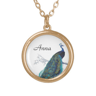 Blue Peacock with beautiful tail feathers Gold Plated Necklace
