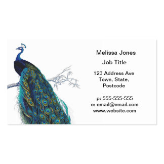 Blue Peacock with beautiful tail feathers Pack Of Standard Business Cards