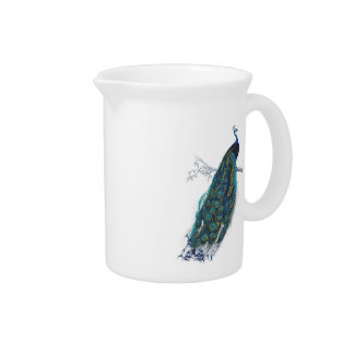 Blue Peacock with beautiful tail feathers Pitcher