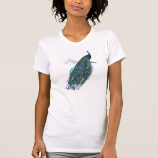 Blue Peacock with beautiful tail feathers Tees